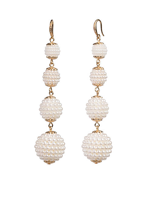 Carolee Quadruple Caviar Pearl Drop Earrings