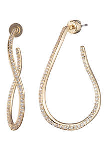 Gold-Tone Twisted Hoop Earrings