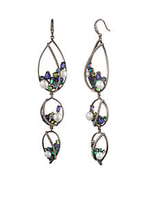 Out All Night Statement Tripe Drop Earrings