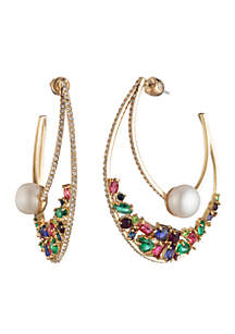 Out All Night Drama Hoop Earrings With Stones And Pearls
