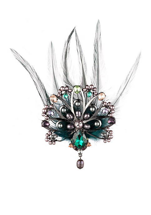 Carolee Fashionably Late Stone Peacock Pin