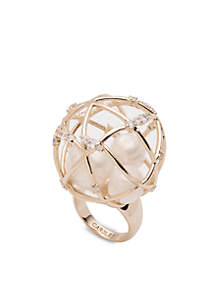 Caged Dome Pearl Ring