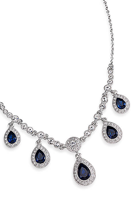 Carolee Simply Blue Crystal Teardrop Necklace