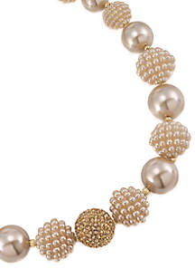 Mini Make Over Suede Pearl Bold Beaded Collar Necklace
