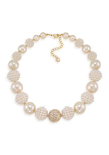 Clare White Bold Beaded Collar Necklace