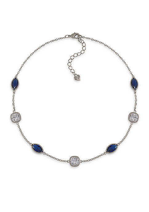Carolee Uptown Girl Sapphire Crystal Illusion Collar Necklace