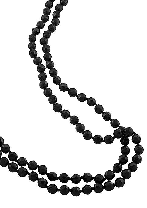 Carolee Long Jet Bead Rope Necklace