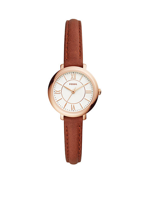 Stainless Steel Jacqueline Three-Hand Leather Watch