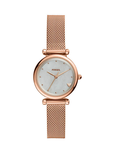 Carlie Mini Three-Hand Leather Watch