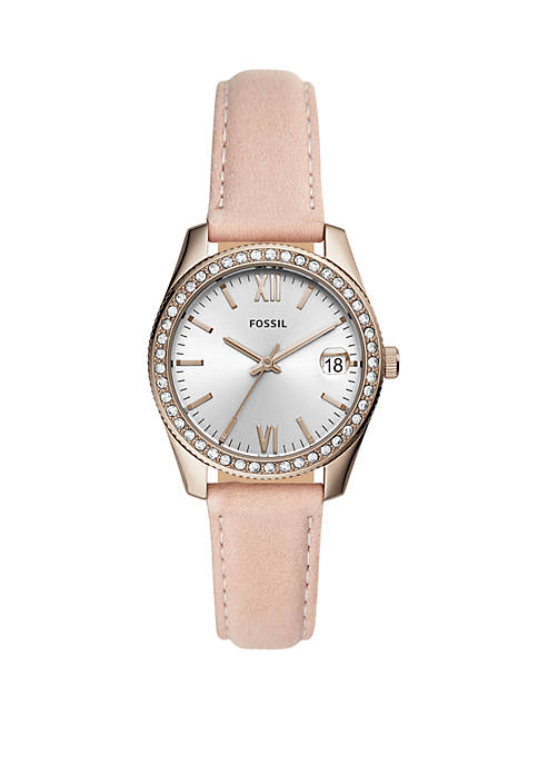 Scarlette Mini 3 Hand Date Leather Watch