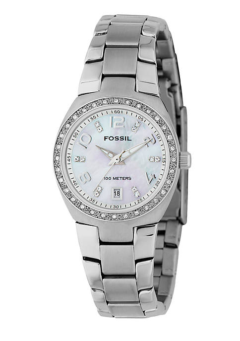 Fossil® Womens White Glitz Watch