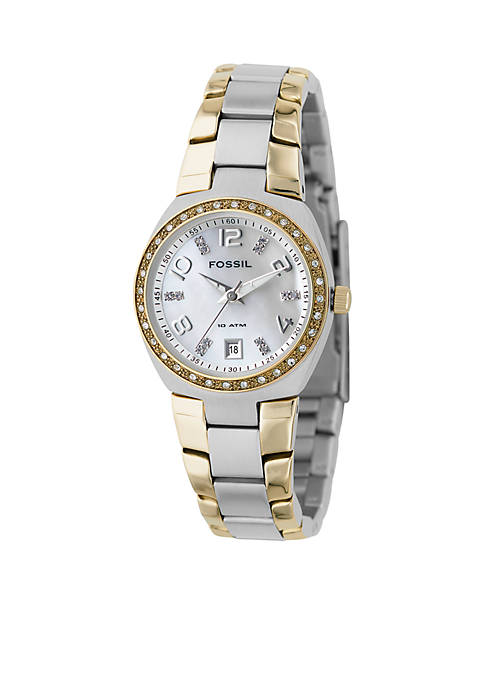 Fossil® Ladies Two-Tone Mother-of-Pearl Analog Dial Watch