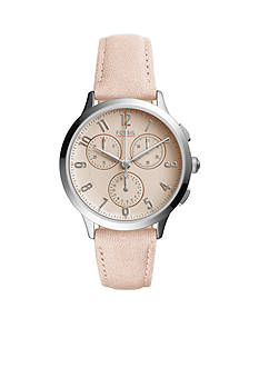 Fossil® Women's Abilene Sport Blush Leather Chronograph Watch