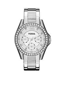 Ladies Silver-Tone Stainless Steel Riley Glitz Watch