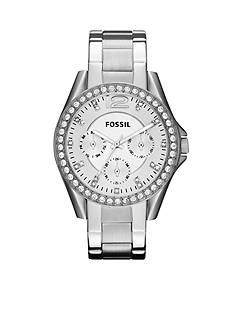 Fossil® Ladies Silver-Tone Stainless Steel Riley Glitz Watch
