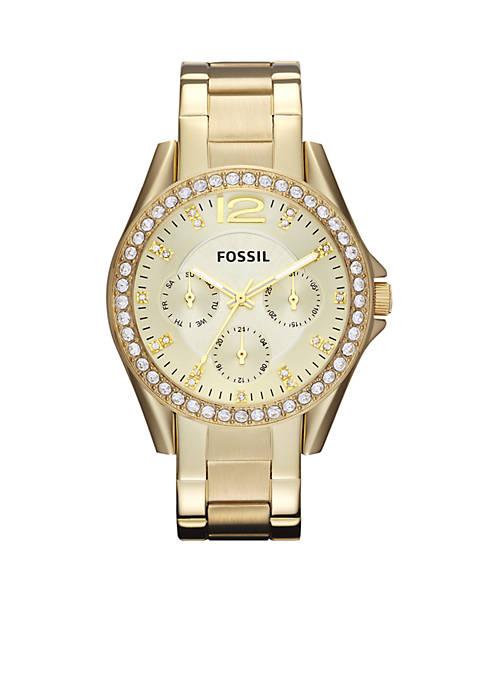 Fossil® Womens Riley Gold-Tone Glitz Watch