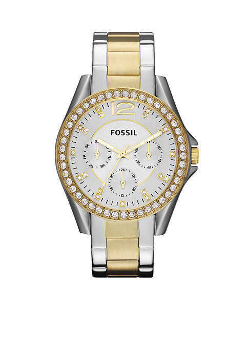 Fossil® Womens Riley Two-Tone Glitz Watch
