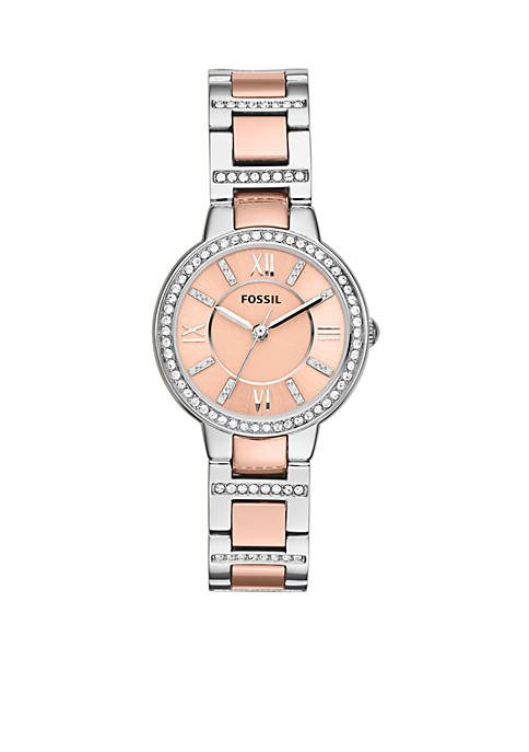Fossil® Womens Two-Tone Stainless Steel Three-Hand Glitz Virginia
