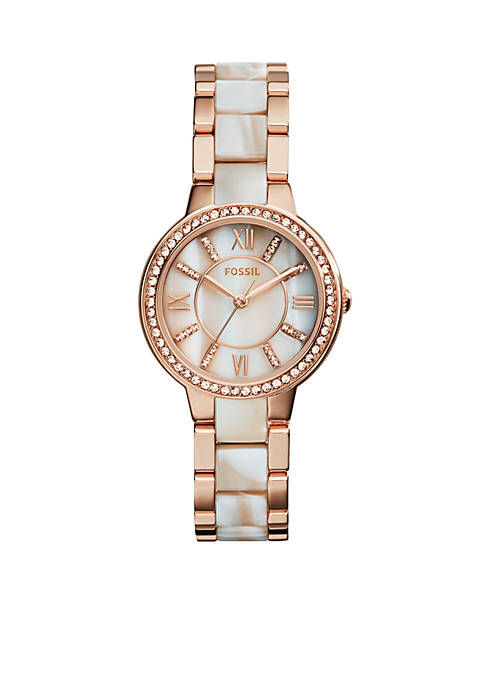 Fossil® Womens Rose Gold-Tone Shimmer Horn Virginia Glitz