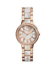 Women's Rose Gold-Tone Shimmer Horn Virginia Glitz Three Hand Watch