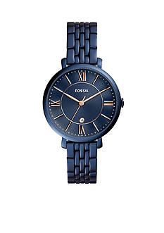 Fossil® Women's Jacqueline Three-Hand Date Blue Stainless Steel Watch