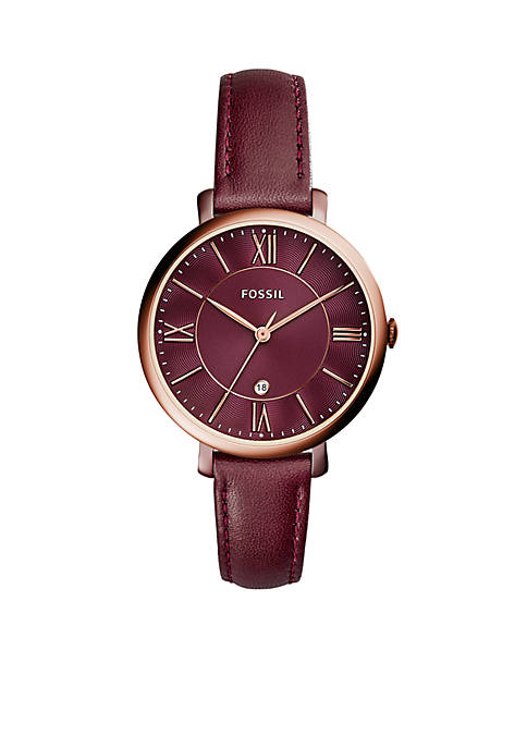 Fossil® Womens Jacqueline Three-Hand Date Wine Leather Watch