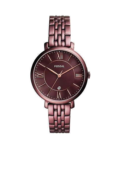 Fossil® Womens Stainless Steel Jacqueline Three-Hand Date Wine