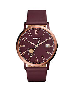 Fossil® Vintage Muse Three-Hand Date Wine Leather Watch