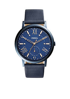 Fossil® Women's Gold-Tone Gazer Multifunction Blue Leather Watch