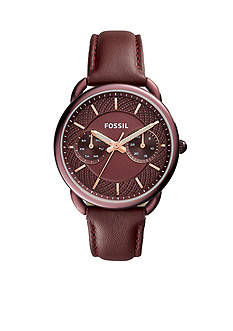 Fossil® Women's Tailor Multifunction Wine Leather Watch