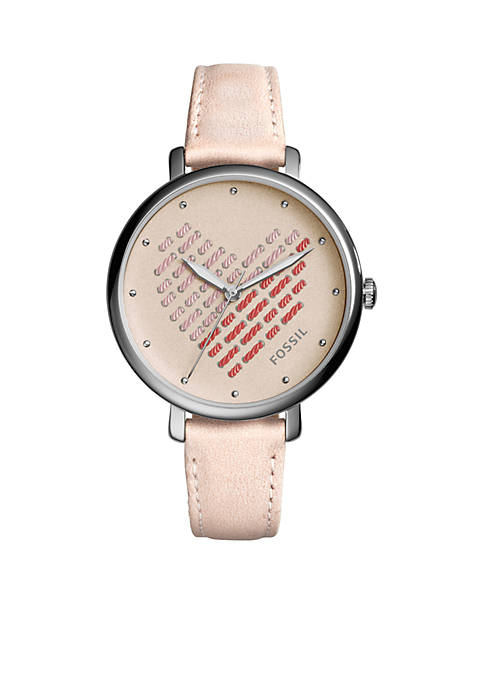 Jacqueline Three-Hand Blush Leather Watch