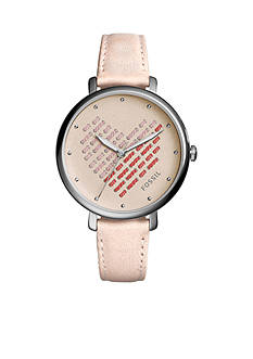 Fossil® Jacqueline Three-Hand Blush Leather Watch
