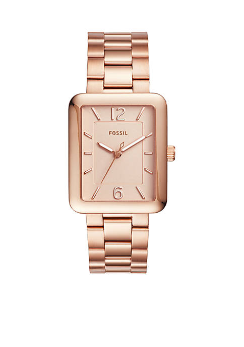 Fossil® Womens Atwater Three-Hand Rose Gold-Tone Stainless Steel
