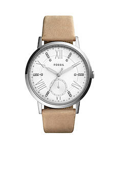 Fossil® Women's Silver-Tone Gazer Multifunction Sand Leather Watch