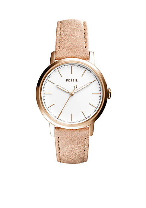 Fossil® Womens Rose Gold-Tone Neely Three-Hand Sand Leather