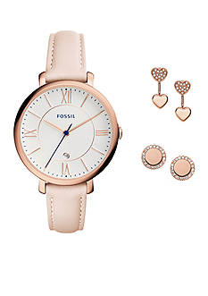 Fossil® Women's Jacqueline Three-Hand Date Blush Leather Watch and Jewelry Box Set