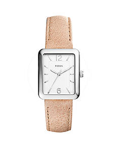 Fossil® Women's Silver-Tone Atwater Three-Hand Sand Leather Watch