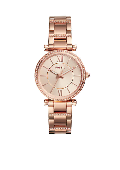 Fossil® Carlie Three-Hand Rose Gold-Tone Stainless Steel Watch