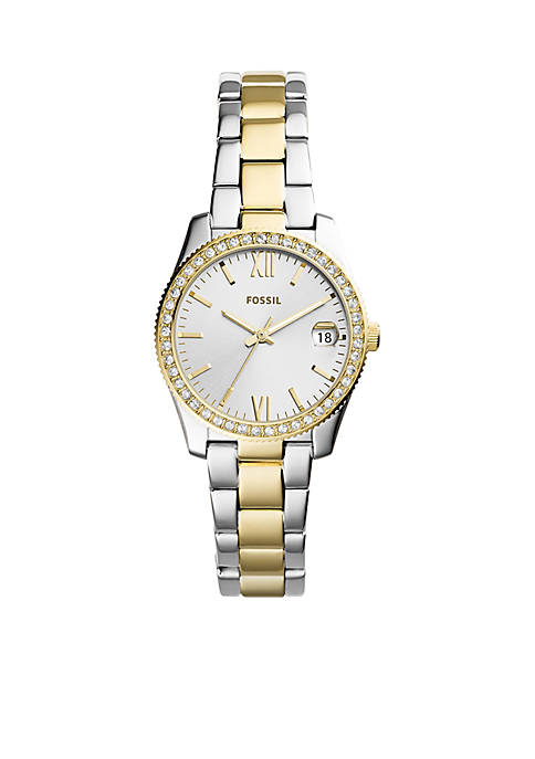 Fossil® Two-Tone Stainless Steel Scarlette Three-Hand Date Watch