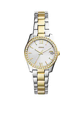 34852dfa5b5 Fossil® Two-Tone Stainless Steel Scarlette Three-Hand Date Watch ...