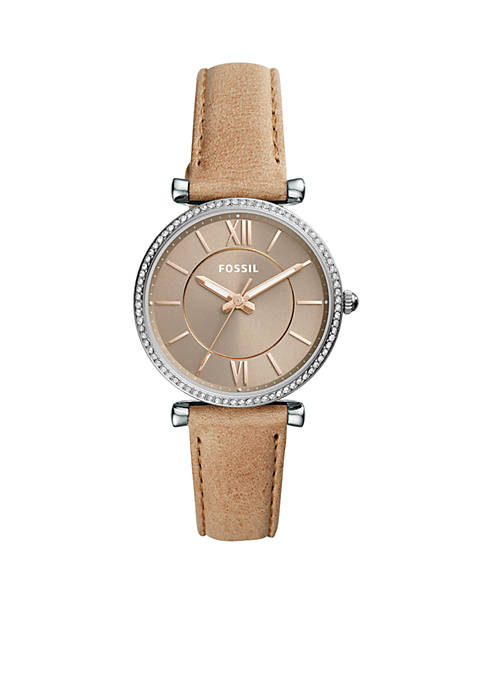 Fossil® Sand Leather Carlie Three-Hand Watch