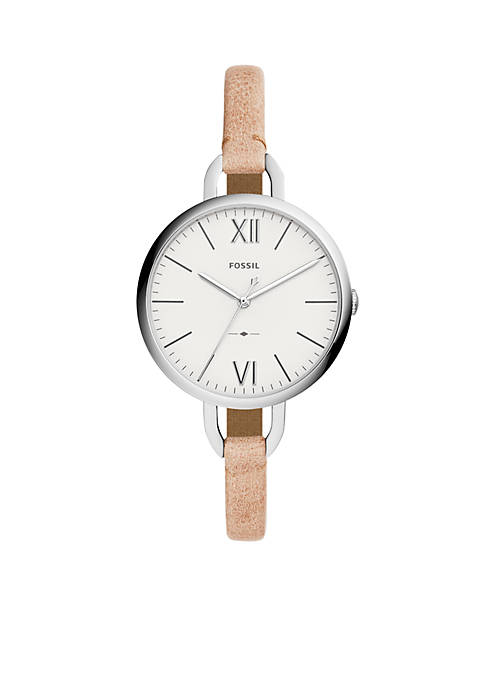 Fossil® Annette Three-Hand Sand Leather Watch