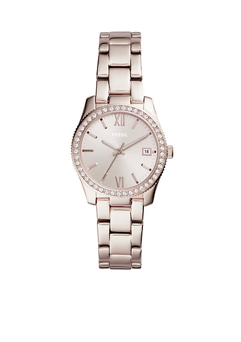 Fossil® Scarlette Three-Hand Date Pastel Pink Stainless Steel