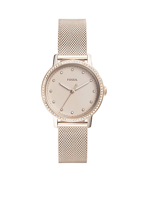 Fossil® Neely Three-Hand Pastel Pink Stainless Steel Watch