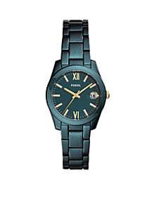 Stainless Steel Scarlette Three-Hand Date Teal Green Bracelet Watch