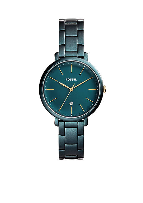 Fossil® Womens Teal Green Stainless Steel Jacqueline Three-Hand