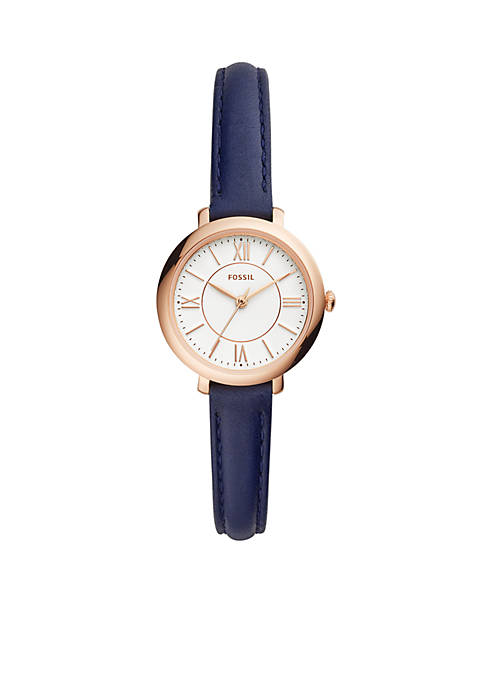 Fossil® Stainless Steel Jacqueline Three-Hand Leather Watch