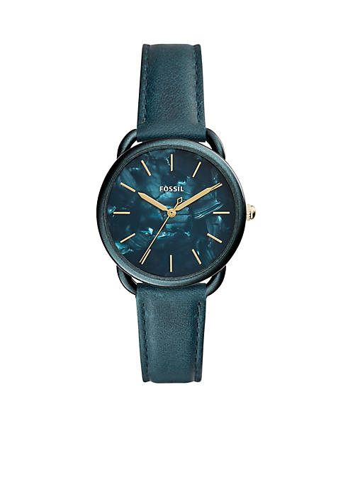 Fossil® Stainless Steel Tailor Three-Hand Teal Green Leather