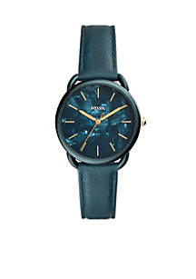 Stainless Steel Tailor Three-Hand Teal Green Leather Watch