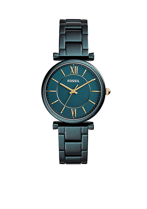 Fossil® Womens Teal Green Stainless Steel Carlie Three-Hand